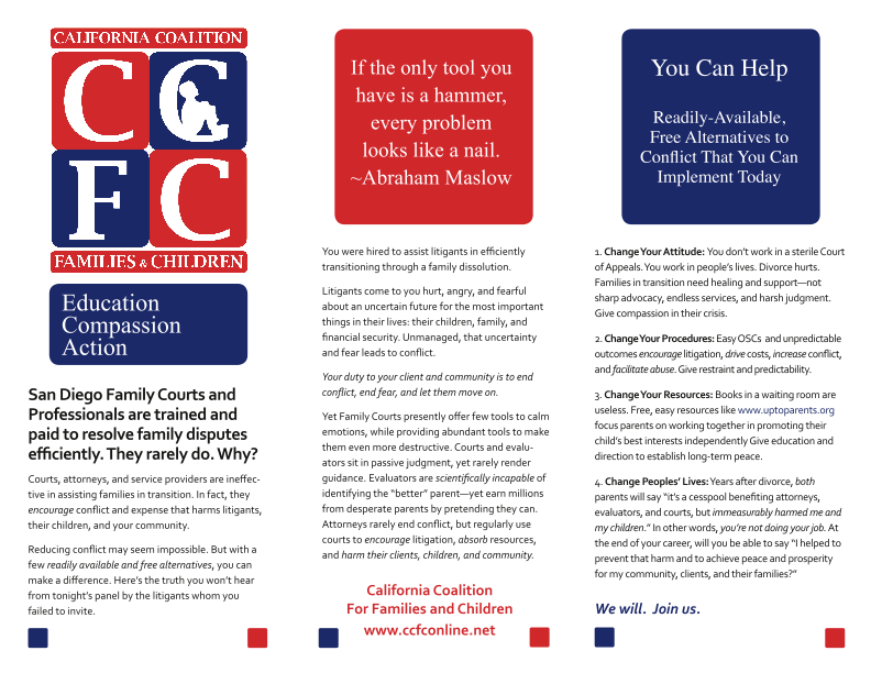 California Coalition for Families and Children brochure for SDCBA seminar