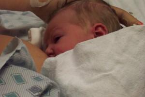 Newborn baby nursing